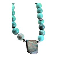 Green/Turquoise Chrysoprase, Jasper Hammered Sterling Necklace
