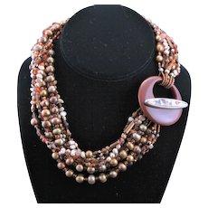 Nine Strand Torsade Necklace With Handmade Clasp