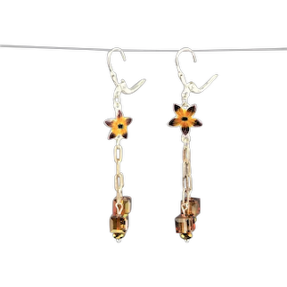 Artisan Made Enamel & Swarovski Crystal Earrings