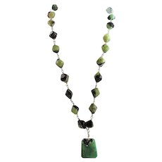 Designer Signed Wonderful Green & Black Banded Agate Druzy Bead Necklace
