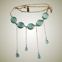 Artist Signed OOAK Aqua Chalcedony 14 KGF Chain Necklace