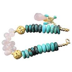 OOAK Designer Signed Turquoise & Rose Quartz Bracelet