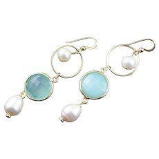 Designer Made Aqua Chalcedony &  Long Earrings