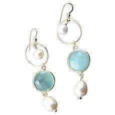 Chalcedony, Freshwater Pearl 14K Gold Wire Earrings