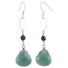 OOAK Designer Sterling Amazonite &Amethyst Earrings