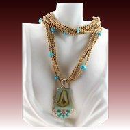 Designer Signed Picture Jasper Turquoise Sterling Multi Strand Necklace