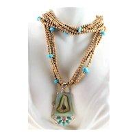 Druzy Turquoise & Amethyst Pendant Necklace