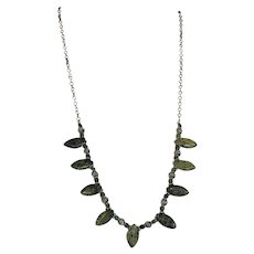OOAK Green African Garnet Oxidized Sterling Chain Necklace