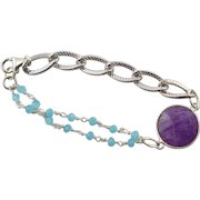 Designer Signed Amethyst & Blue Calcedony Silver Bracelet
