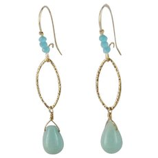 Aqua Chalcedony, Blue Faceted Opals, 14 KGF Earrings by MJG Designs