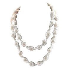 Designer Made Extra Large Baroque Hand Knotted White Pearl Necklace