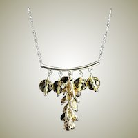 Designer Signed Sterling & Citrine Chain Necklace