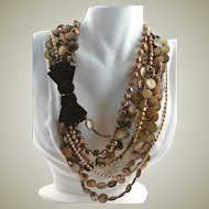 Special Necklace Made With Vintage Belt Buckle & Freshwater Pearls