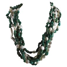 Freshwater White Pearls  & Chinese Turquoise Necklace