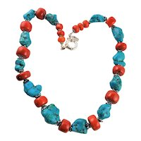 Large Natural Turquoise Nuggets & Coral Necklace