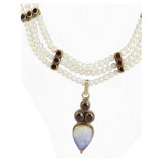 OOAK  Stunning Fresh Water White Pearl, Spectacular Moonstone and Garnet Necklace Hand Made by MJG Designs