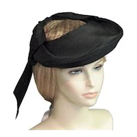 1930's - 40's Black Straw A Luetta Model Labeled Hat