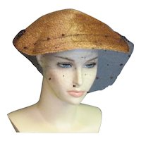 Wonderful Tan Fine Straw Gage 1940's Hat