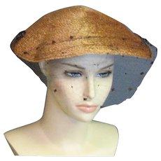 Wonderful Tan Fine Straw Gage 1940's Hat