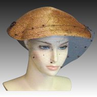A Spectacular Vintage Natural & Brown Straw Chapeau by Gage