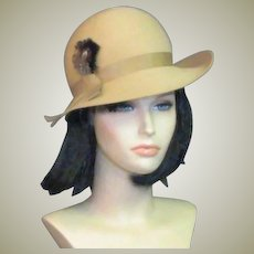 Vintage Tan Wool Felt High End Fedora