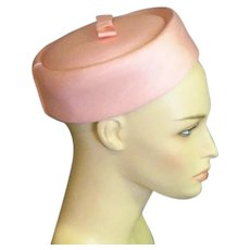 Vintage Pink Cloth Pillbox Hat