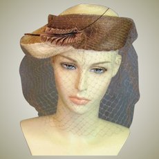 Outstanding Mid Century Summer Straw Oyster Colored Chapeaux
