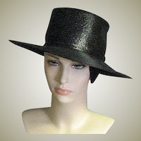 Vintage Fine Black Straw Peggy Earles Original Chapeaux