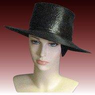 Vintage Fine Black Straw Peggy Earles Original Chapeaux