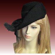!940's Black Wool Henry Pollak Hat
