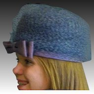 Vintage Blue Straw & Netting Hat