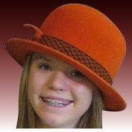 Orange 1960's Wool Lee Bury Bucket Hat
