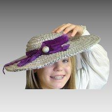 Light Blue Raffia 1930's Pancake Hat