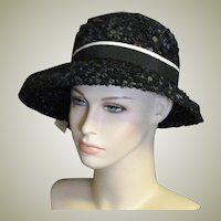 Vintage Black Straw With Black & White Ribbon Trim