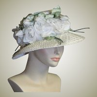 Lovely White Straw Easter/Church Bonnet/Chapeaux