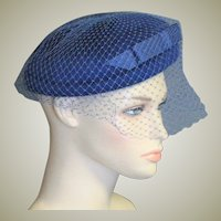 Beautiful Blue Mohair Wool Pill Box Hat