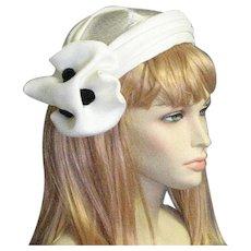 1950's White Fancy Straw Hat