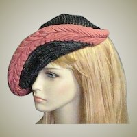 Pink & Black Classy Straw 1940's Hat