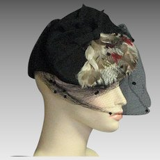 Glorious Black Wool Hat With Colored Feathers