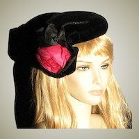 Fancy Black Velvet Vintage Hat With Silk Flower