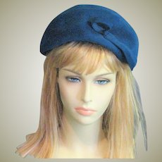Handsome Blue Wool Beret Style Hat