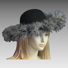Beautiful Vintage Black Wool & Feather Hat