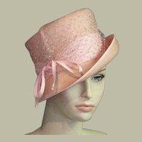 Vintage Designer Pink Straw Church Hat