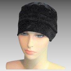 Black Velvet Cloche Style Hat