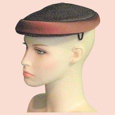 Vintage Brown Straw 1950's Hat