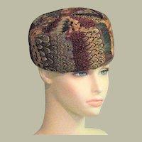Beautiful 1960's Feather Pillbox Hat