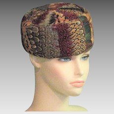 Beautiful 1960's Feather Pillbox Hat