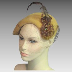 Spectacular 1940's Gold Wool Hat