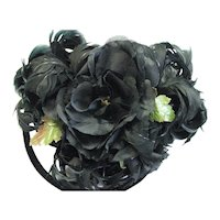 Amazing 1930's Curly Feather Black Hat