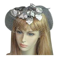 Lovely 1960's Silver Net Veil Hat